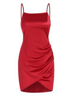 Overlap Silky Draped Slinky Slip Dress - Red S