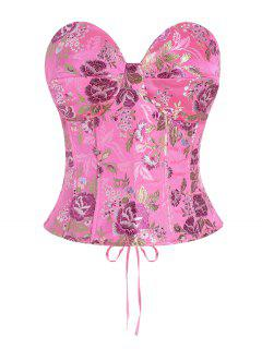 Lace Up Floral Jacquard Oriental Corset Top - Light Pink M