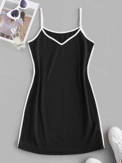 Contrast Binding Cami Mini Tank Dress - Black Xl