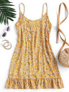 Mini Vestido Con Volantes Y Estampado De Flor - Amarillo M