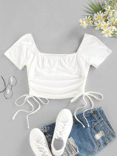 ZAFUL Ribbed Cinched Tie Crop Tee - White S