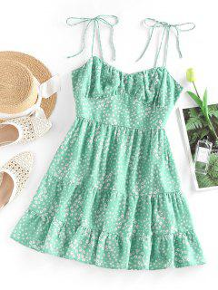 ZAFUL Ditsy Print Tie Shoulder Cupped Tiered Dress - Light Green S