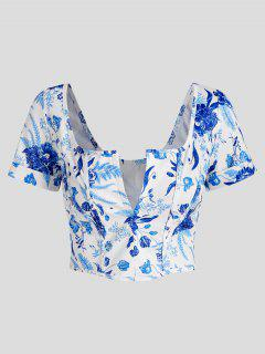 Hook And Eye Plant Print Corset Detail Crop Top - Blue M