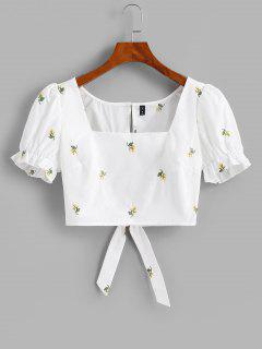 Flower Embroidered Puff Sleeve Ruffle Cutout Crop Blouse - White L