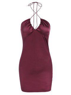 Satin Halter Mini Bodycon Dress - Deep Red S