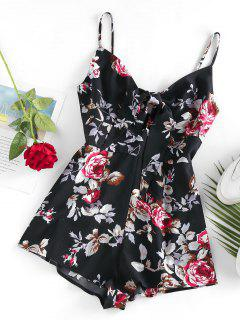 ZAFUL Flower Tied Cami Loose Romper - Black S