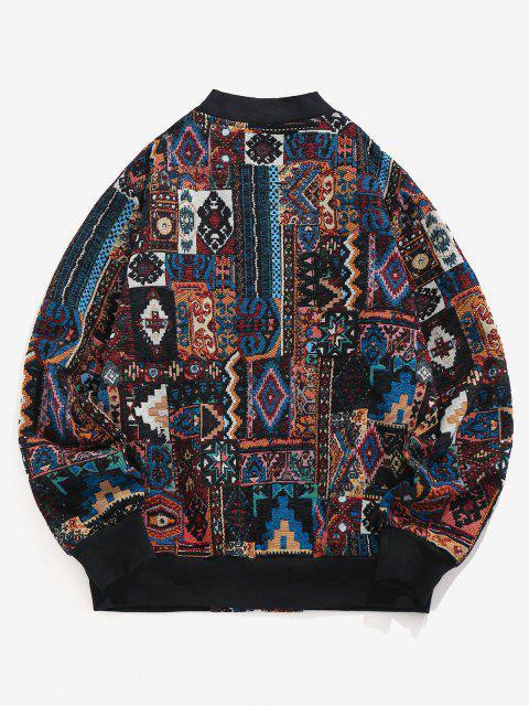 buy ZAFUL Tribal Jacquard Zip Up Jacket - MULTI-A L Mobile
