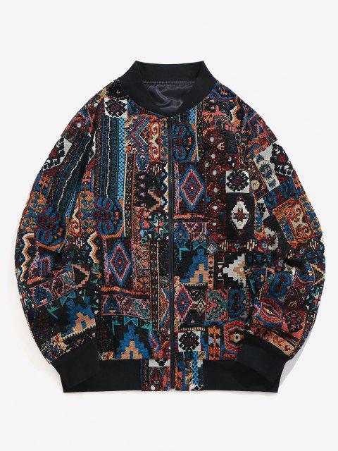 womens ZAFUL Tribal Jacquard Zip Up Jacket - MULTI-A XL Mobile