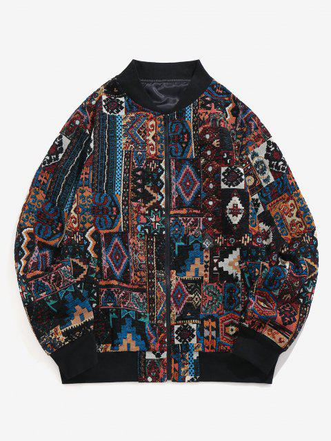 women ZAFUL Tribal Jacquard Zip Up Jacket - MULTI-A 2XL Mobile