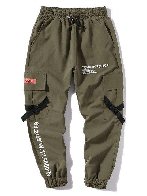 trendy Letter Print Flap Pockets Cargo Jogger Pants - ARMY GREEN XL Mobile