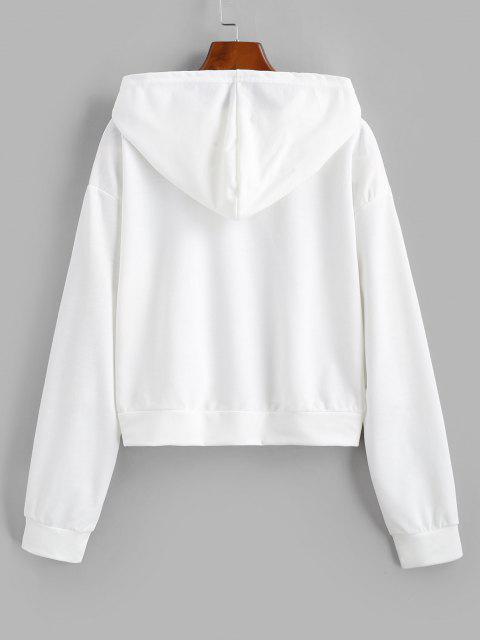 fancy Drop Shoulder Sketching Figure Graphic Hoodie - WHITE M Mobile