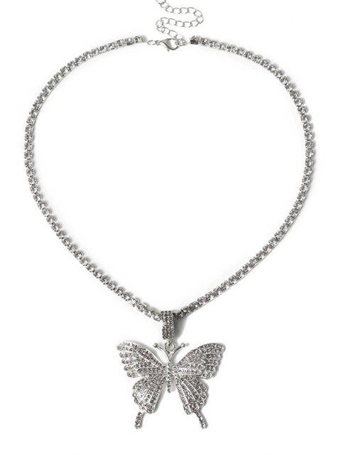 affordable Big Butterfly Pattern Rhinestone Necklace - SILVER  Mobile