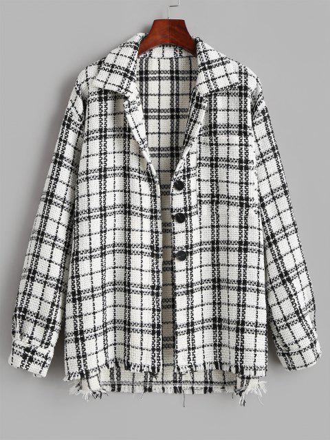 affordable Plaid Tweed Front Pocket Shacket - WHITE XS Mobile