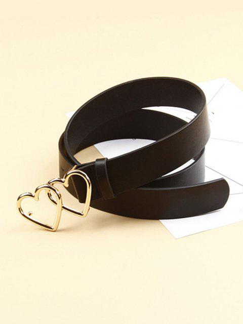 new Double Hollow Heart Buckle Belt - BLACK  Mobile