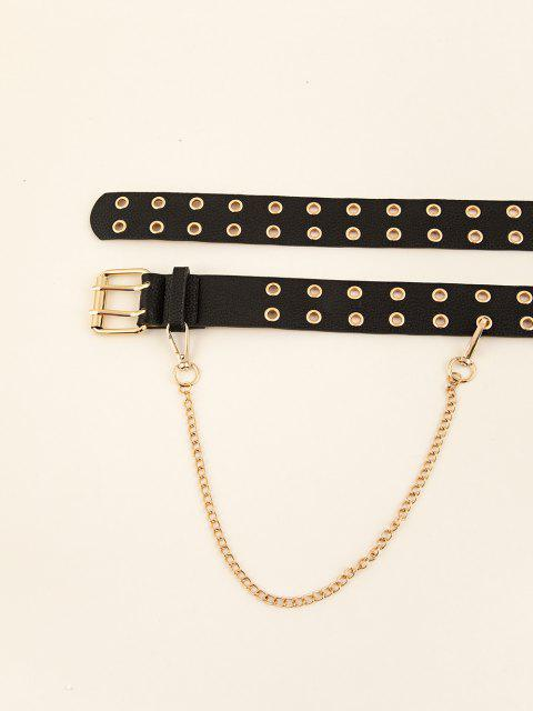 outfit Chain Double Row O Ring Buckle Belt - BLACK  Mobile