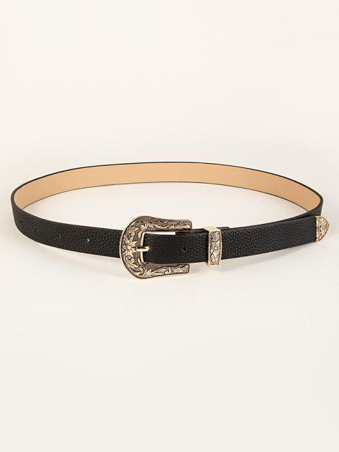 shop Leaf Floral Pattern Buckle Belt - BLACK  Mobile