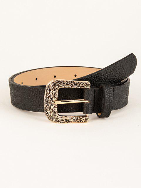 shops Engraved Dragon Pin Buckle Belt - BLACK  Mobile