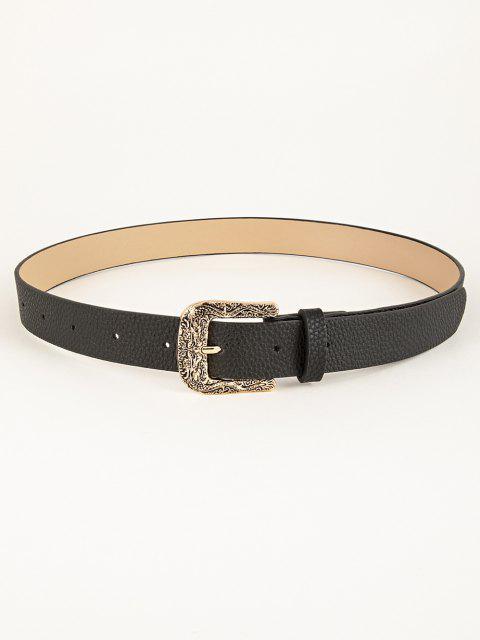 Engraved Dragon Pin Buckle Belt - أسود  Mobile