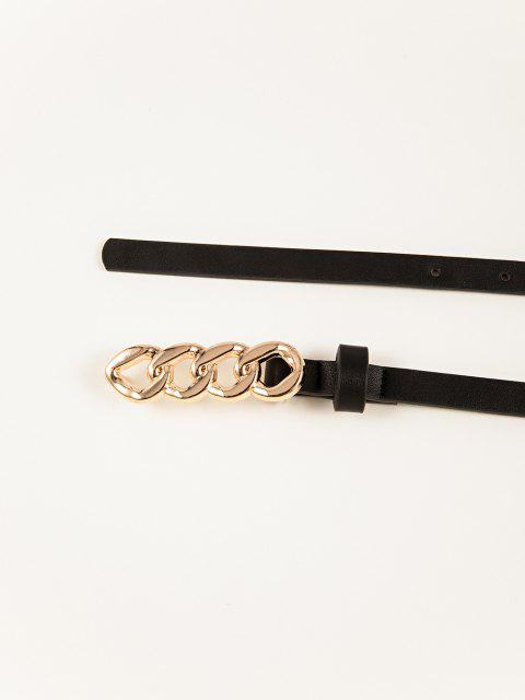 latest Chain Shape Buckle Skinny Belt - BLACK  Mobile