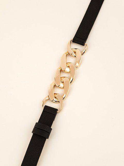 trendy Interlocked Rings Link Dress Belt - BLACK  Mobile