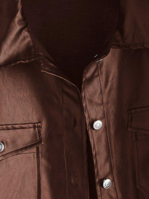 online Faux Leather Front Pocket Shacket - COFFEE XS Mobile