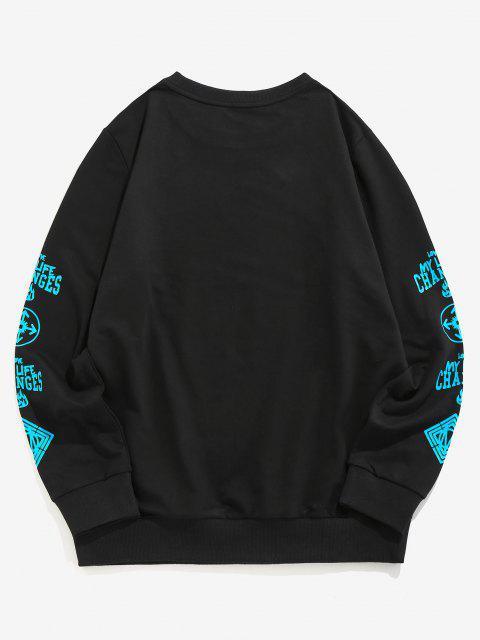 women's ZAFUL Love My Life Slogan Graphic Sweatshirt - BLACK S Mobile