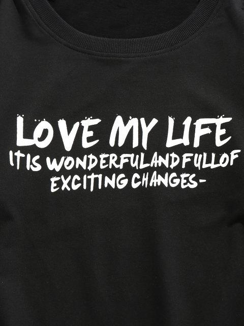 lady ZAFUL Love My Life Slogan Graphic Sweatshirt - BLACK L Mobile