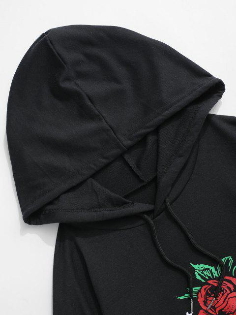 affordable Disappointed But Not Surprised Rose Graphic Hoodie - BLACK XL Mobile