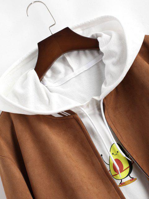 Streifen Muster Wildleder Baseball Jacke - Kaffee XL Mobile