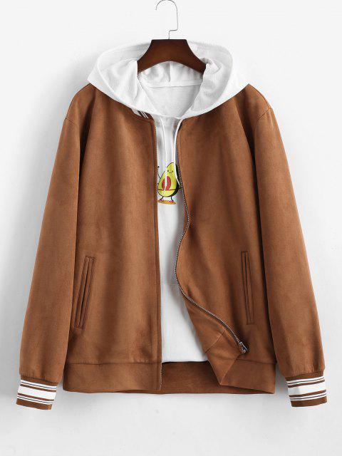 women's Stripe Pattern Suede Baseball Jacket - COFFEE L Mobile