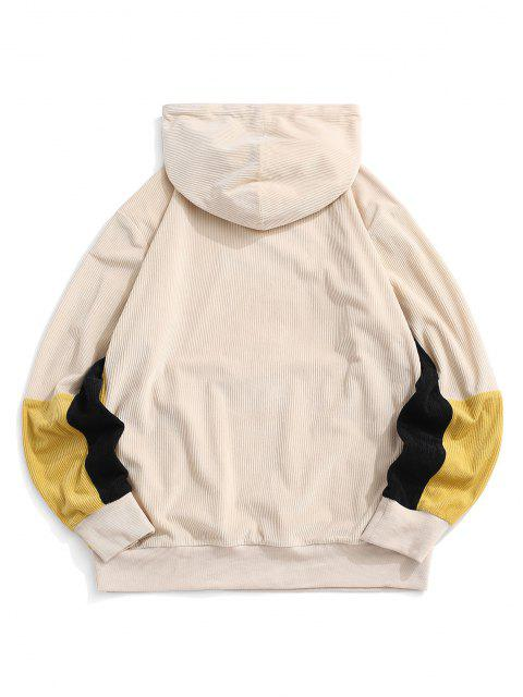 Cord-Colorblock-Panel Hoodie - Licht Kaffee L Mobile