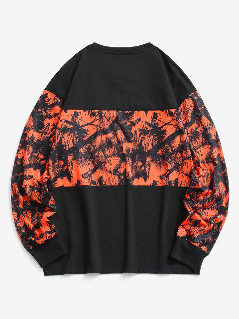 lady Tree Branches Paint Panel Crew Neck Sweatshirt - BLACK 2XL Mobile