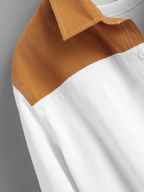 trendy Colorblock Long Sleeve Pocket  Shirt - WHITE M Mobile