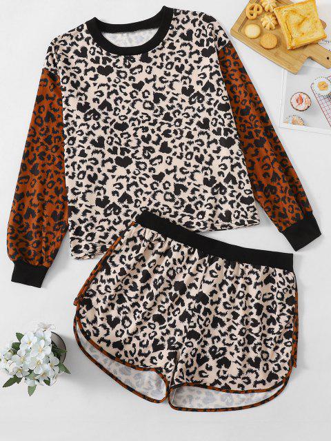 lady Plus Size Crew Neck Leopard Two Piece Set - MULTI 1XL Mobile