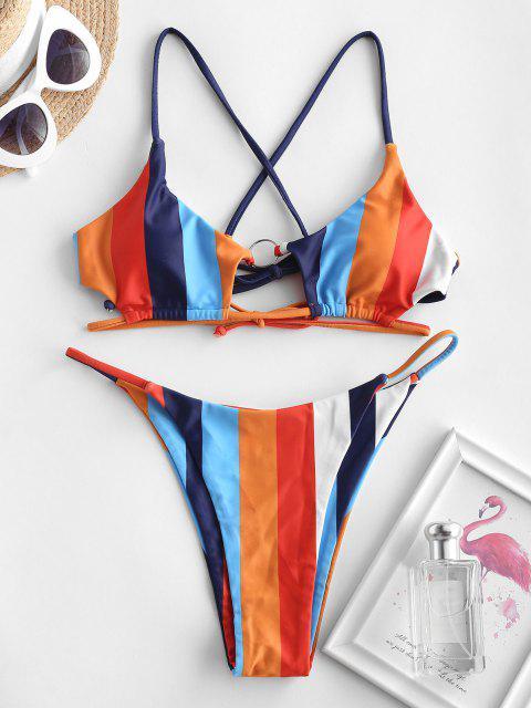 ZAFUL Costume da Bagno Bikini a Righe con Nodo - Multi Colori S Mobile