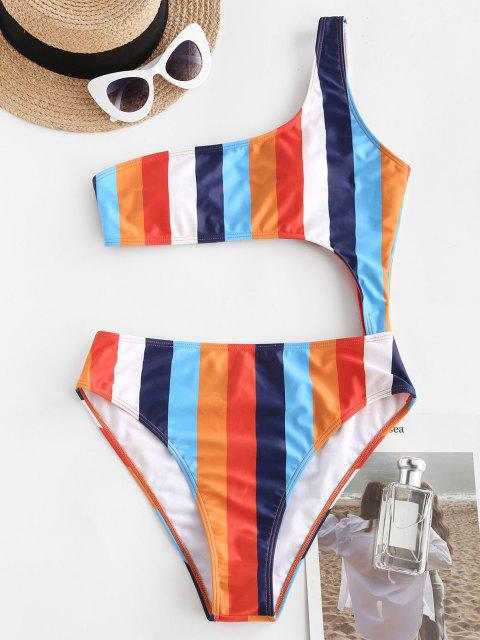ZAFUL One Shoulder Colorblock Striped Cutout One-piece Swimsuit - متعدد S Mobile