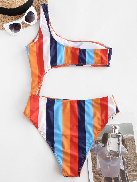 ladies ZAFUL One Shoulder Colorblock Striped Cutout One-piece Swimsuit - MULTI S Mobile