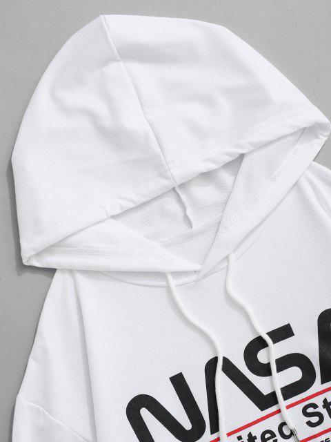 Buchstabe Grafik Amerikanische Flaggendruck Känguru Taschen Hoodie - Weiß M Mobile