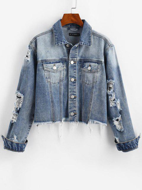 womens Ripped Frayed Pocket Trucker Denim Jacket - LIGHT BLUE L Mobile