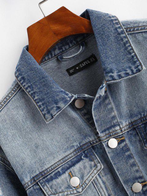 Zerrissene Ausgefranste Tasche Fernlastfahrer Jeansjacke - Hellblau S Mobile