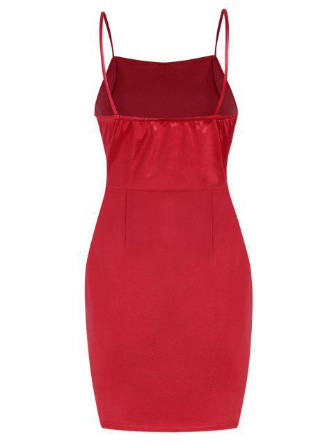 fancy Overlap Silky Draped Slinky Slip Dress - RED M Mobile