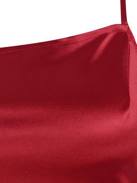 sale Overlap Silky Draped Slinky Slip Dress - RED S Mobile