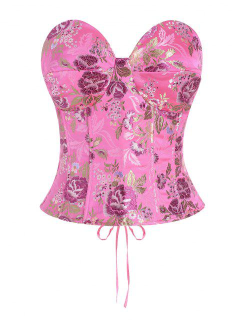 affordable Lace Up Floral Jacquard Oriental Corset Top - LIGHT PINK S Mobile