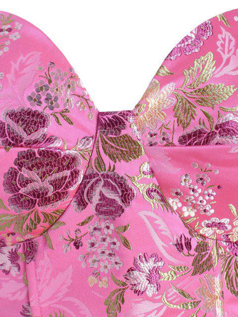 online Lace Up Floral Jacquard Oriental Corset Top - LIGHT PINK L Mobile