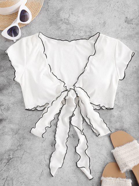 ZAFUL Haut de Maillot de Bain Côtelé Contrasté à Ourlet en Laitue - Blanc XL Mobile