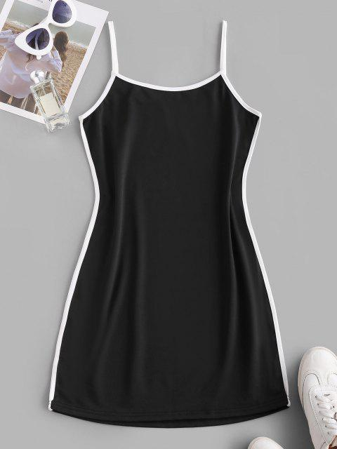 fashion Contrast Binding Cami Mini Tank Dress - BLACK M Mobile