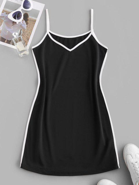 shop Contrast Binding Cami Mini Tank Dress - BLACK XL Mobile