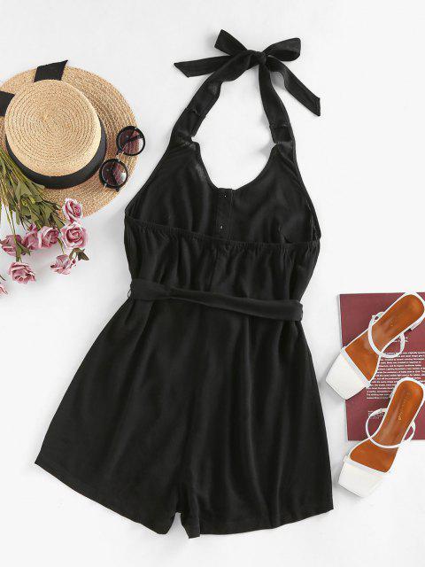 ZAFUL Mono Femenino con Escote Pronunciado en Espalda con Cinturón - Negro XL Mobile