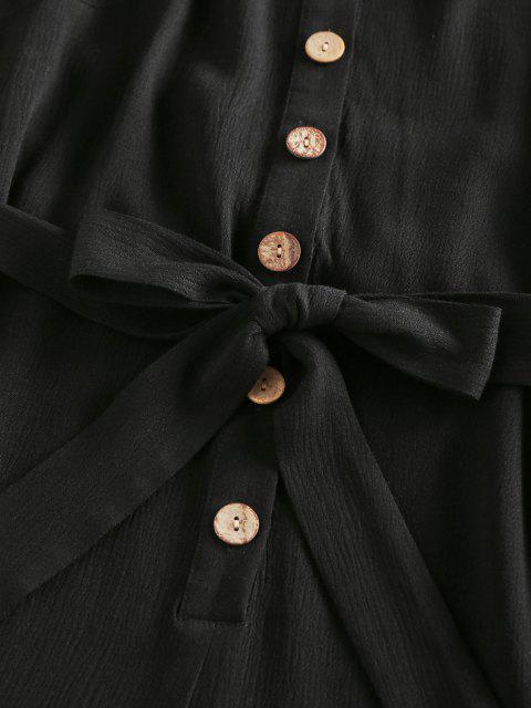 hot ZAFUL Halter Button Placket Backless Belted Romper - BLACK S Mobile