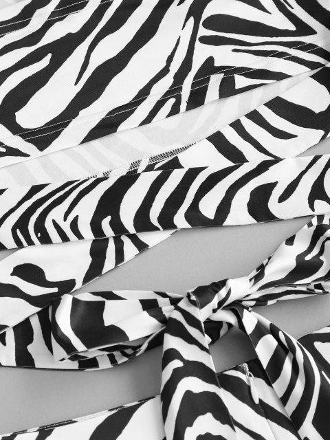 sale ZAFUL Zebra Print Knotted Tube Two Piece Set - BLACK S Mobile